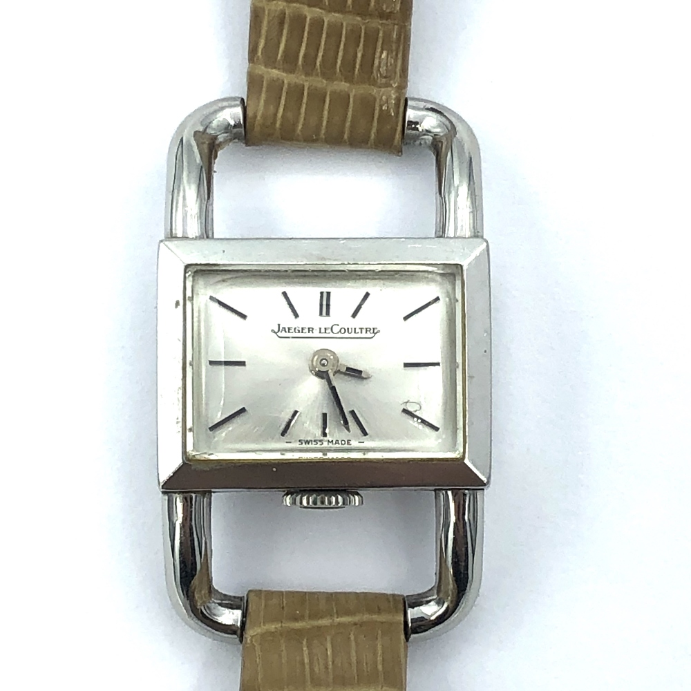 Lot 33 - Jaegar Le Coultre white metal, wide lug drivers watch numbered '1406830' 1670.42