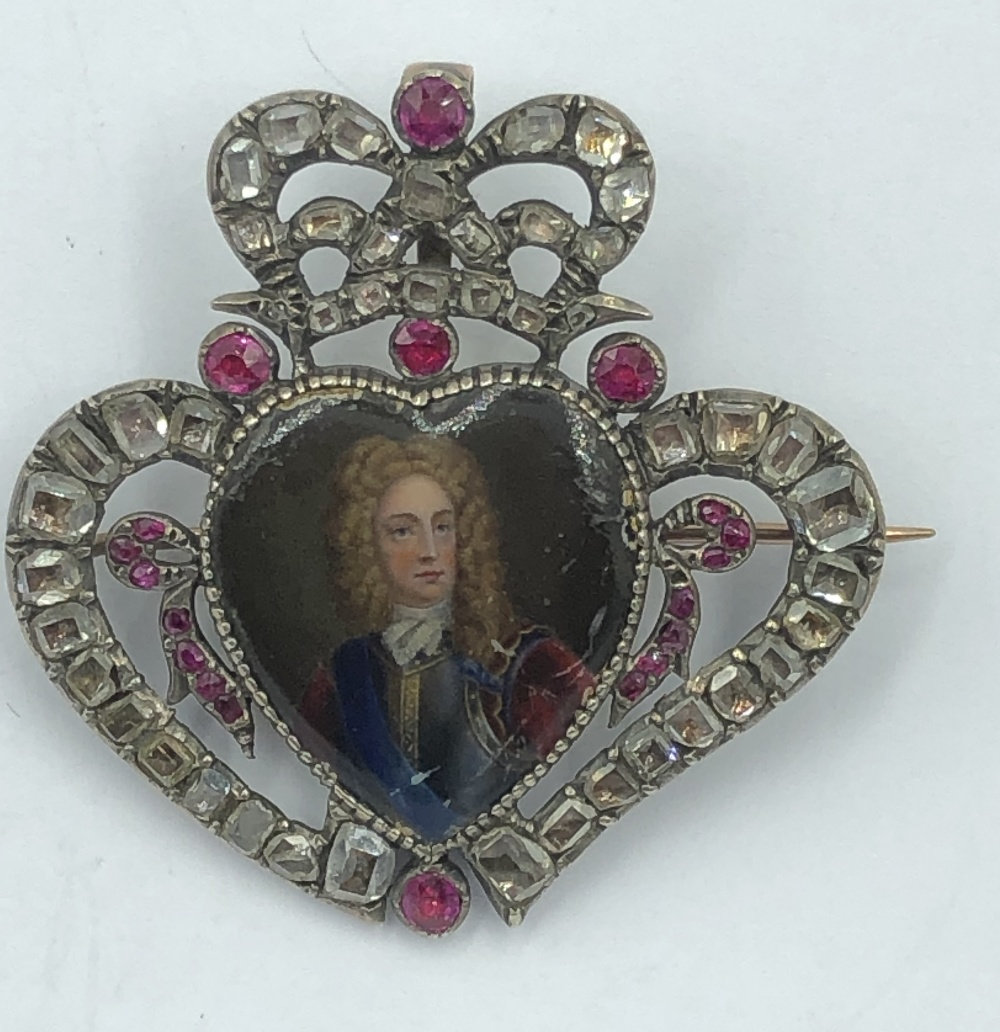 Lot 23 - NO ONLINE BIDDING LOTS 1-30. Late C18/19th (early) brooch pendant in the form of a heart