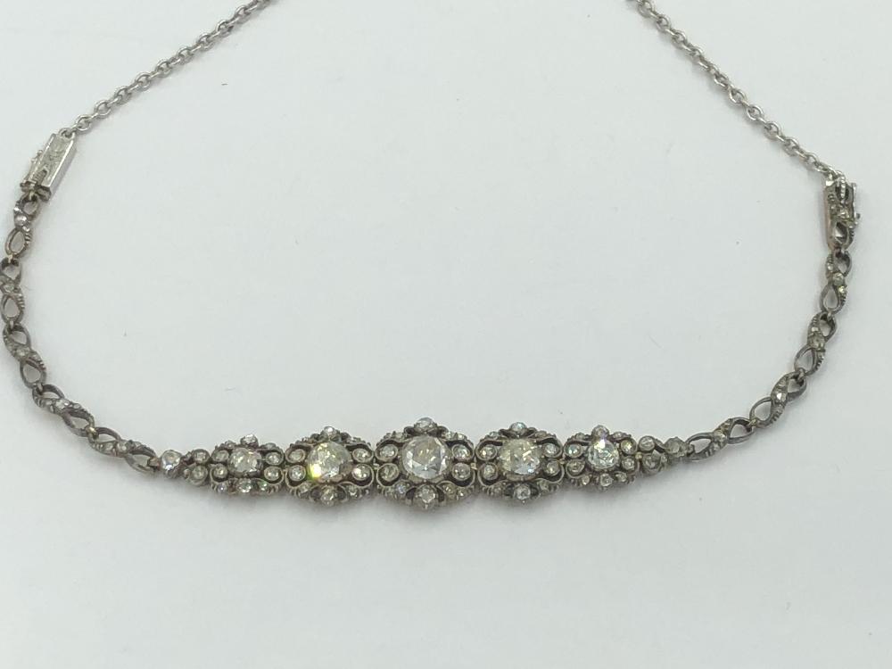 Lot 17 - NO ONLINE BIDDING LOTS 1-30. C18/19th rose cut diamond bracelet set with 5 graduated diamond panels