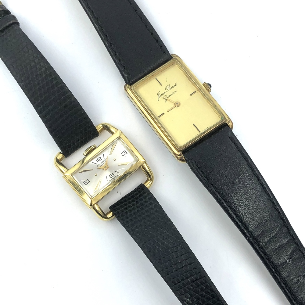 Lot 39 - Gentlemans yellow metal wristwatch by Team Perret 'Geneve', quartz movement with rectangular face