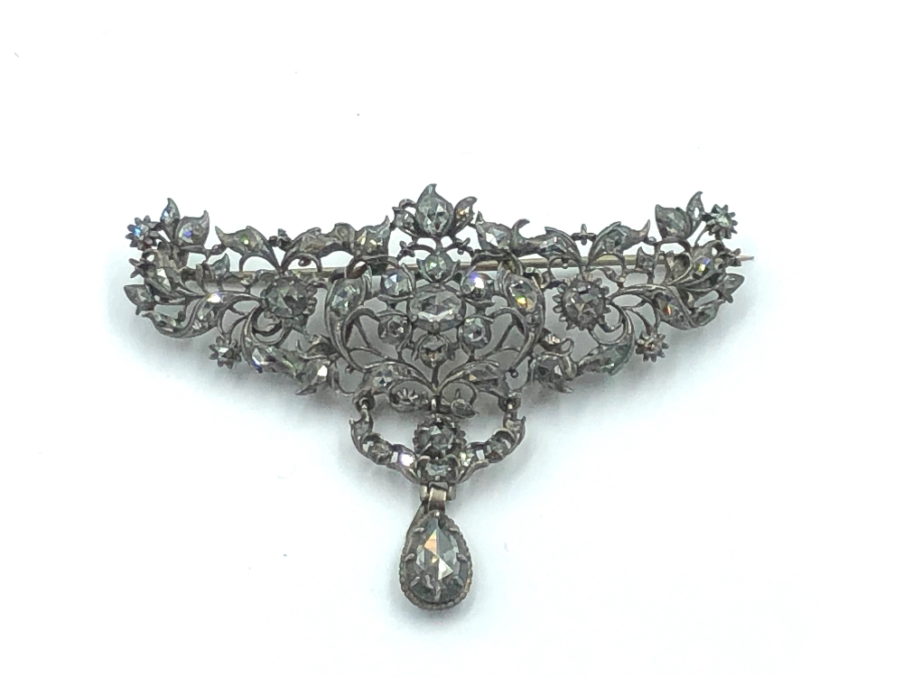 Lot 18 - NO ONLINE BIDDING LOTS 1-30. C18/19th Iberian diamond set brooch in unmarked white & yellow metal