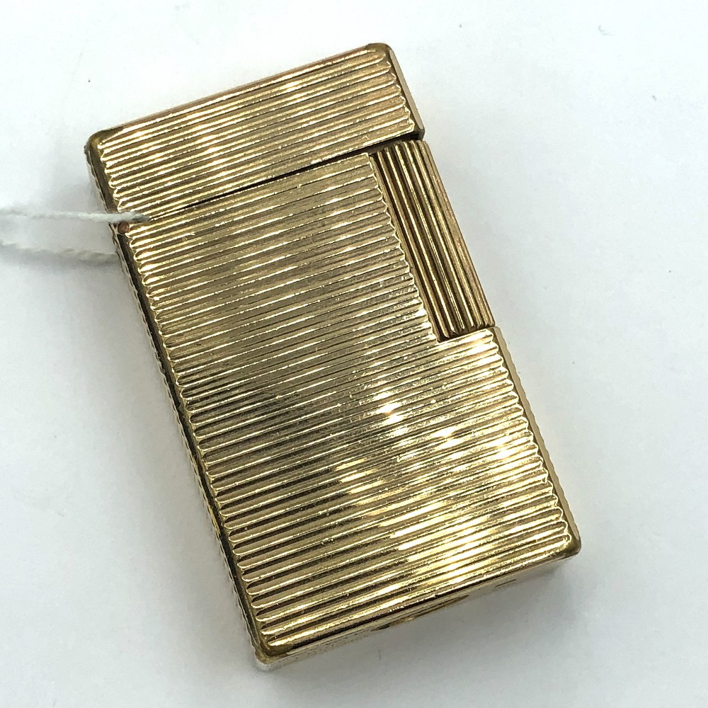 Lot 44 - Dupont gold plated double cigarette lighter 'stamped Dupont Paris'
