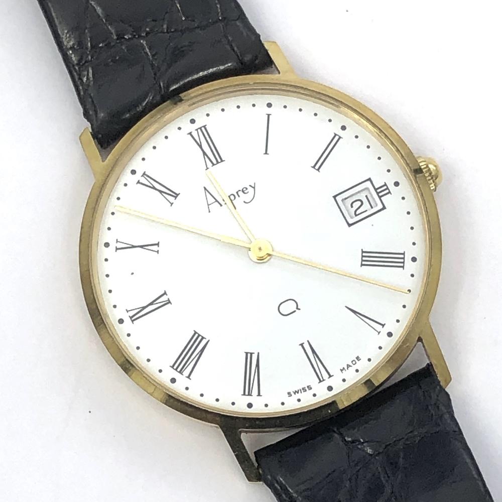 Lot 48 - Aspreys gentlemens yellow metal metal wristwatch, quartz movement, cream face with Roman numeral