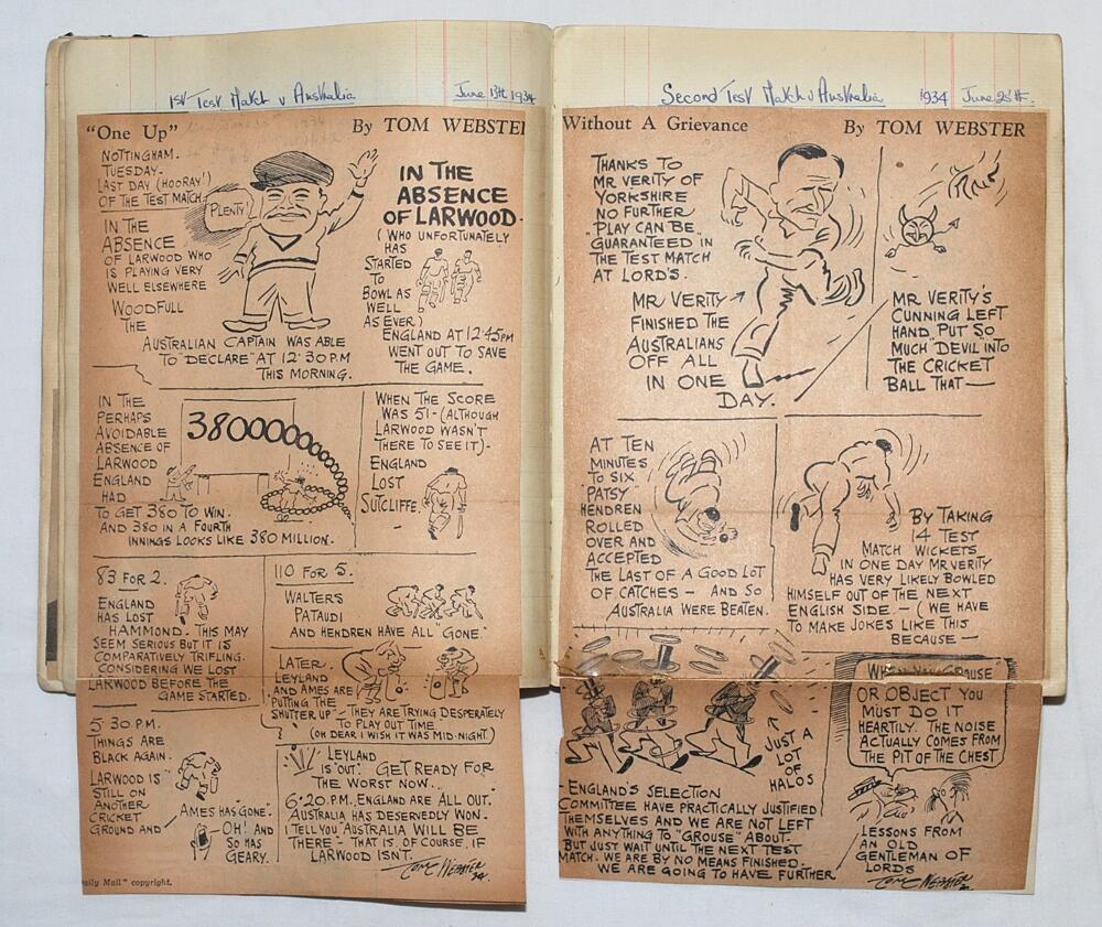 Lot 40 - Cricket scrapbook 1920s-1970s. A scrapbook comprising press cuttings and pictures mainly relating