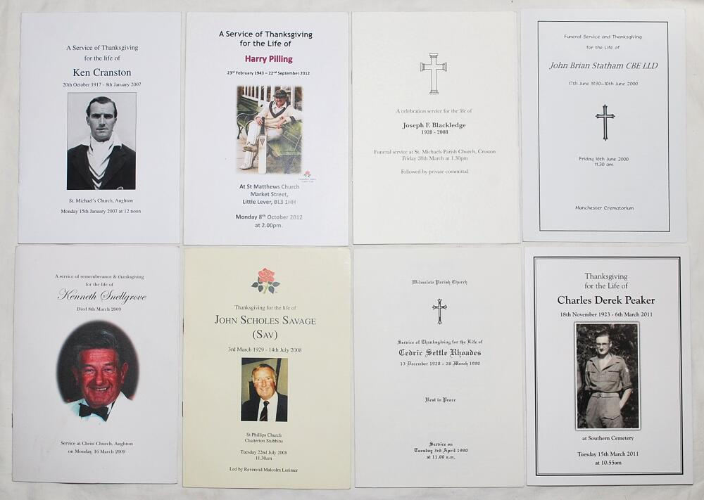 Lot 19 - Lancashire Cricketers' Orders of Service. Kenneth Cranston 1917-2007, Harry Pilling 1943-2012,