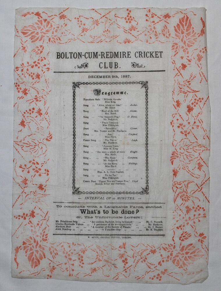 Lot 11 - Bolton-Cum-Redmire C.C. 1887. Original programme for a theatre event of music and dramatics dated