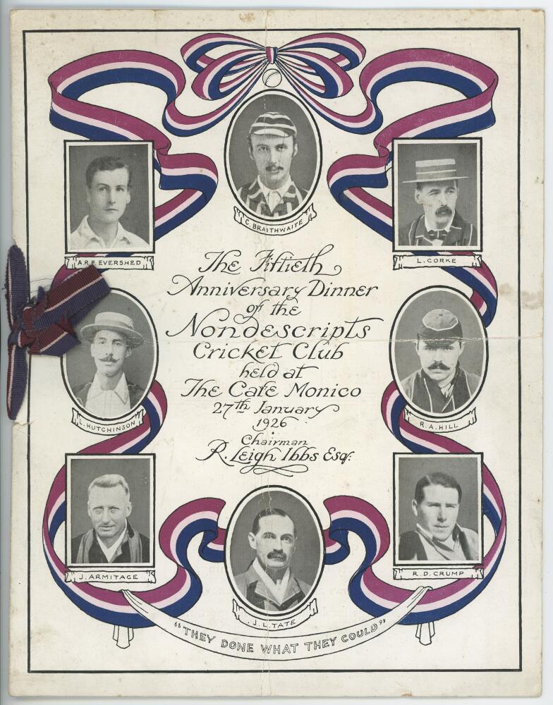 Lot 7 - Nondescripts Cricket Club. 'The Fiftieth Anniversary Dinner of the Nondescripts Cricket Club held at