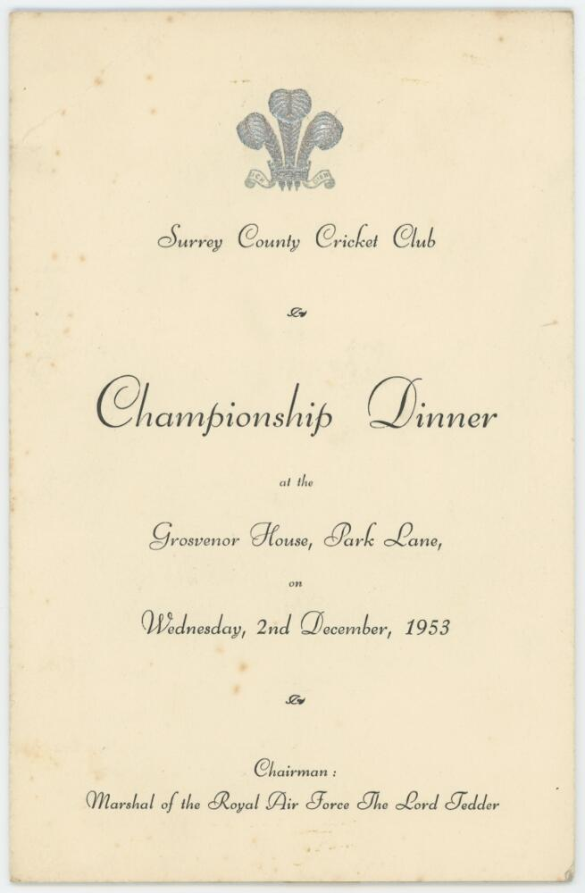 Lot 12 - Surrey County Cricket Club 'County Champions' Annual Dinner 1953. Official menu for the Dinner