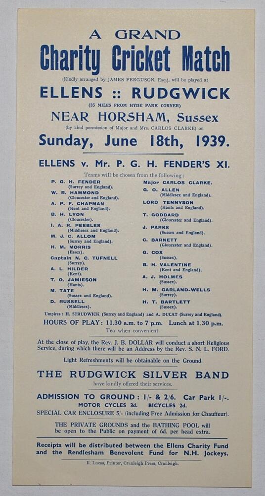 Lot 16 - Percy George Herbert Fender. Sussex, Surrey & England 1910-1935. Original handbill/ poster