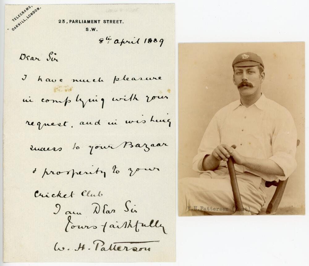 Lot 42 - William Henry Patterson. Oxford University & Kent 1878-1900. One page handwritten letter dated 8th