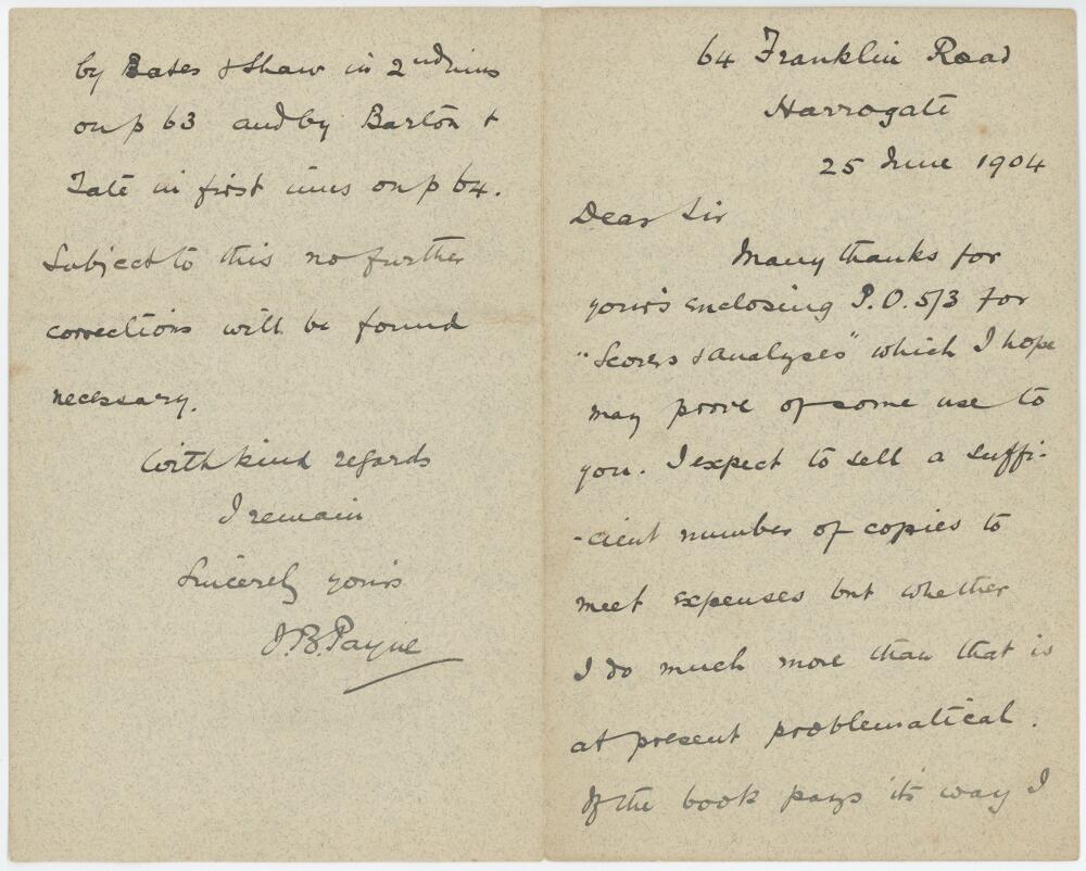 Lot 54 - John Bertram Payne. Four page handwritten letter dated 25th June 1904 from Payne in Harrogate to