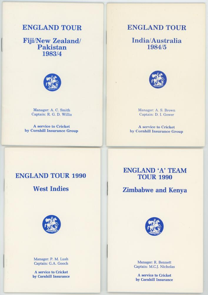 Lot 6 - England tour itineraries 1983-1990. Four official players' itineraries for the tours to Fiji, New