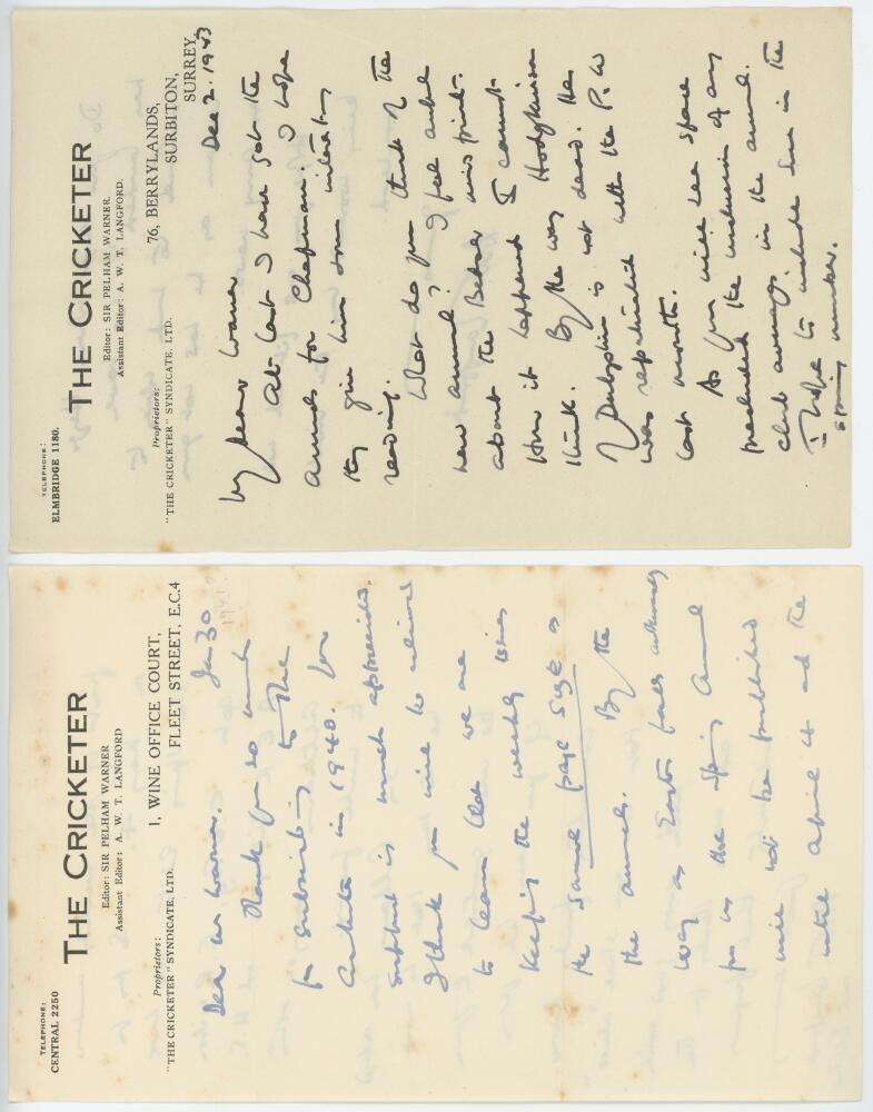 Lot 49 - A.W.T. Langford (1896-1976), author and journalist. Three handwritten two page letters from Langford