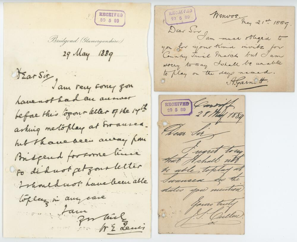 Lot 47 - Glamorgan C.C.C. 1889. Three handwritten letters/ cards from cricketers replying to an invitation to
