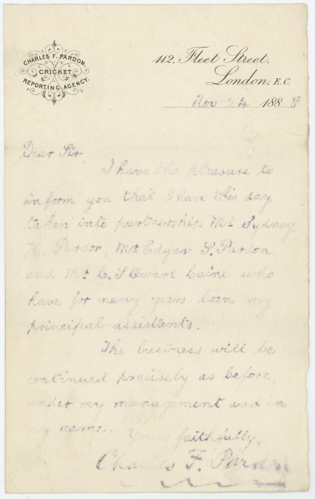 Lot 52 - Charles F. Pardon, editor of Wisden Cricketers' Almanack 1887-1890. An original Roneo stencil copy