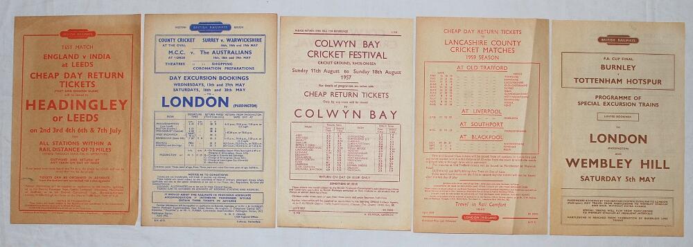 Lot 17 - Railway handbills 1953-1962. Four cricket advertising handbills issued by British Railways for the