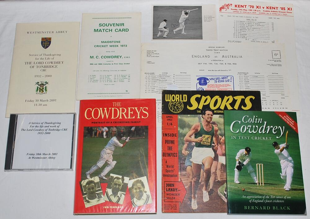 Lot 33 - Michael Colin Cowdrey. Kent, Oxford University and England 1950-1976. A selection of ephemera