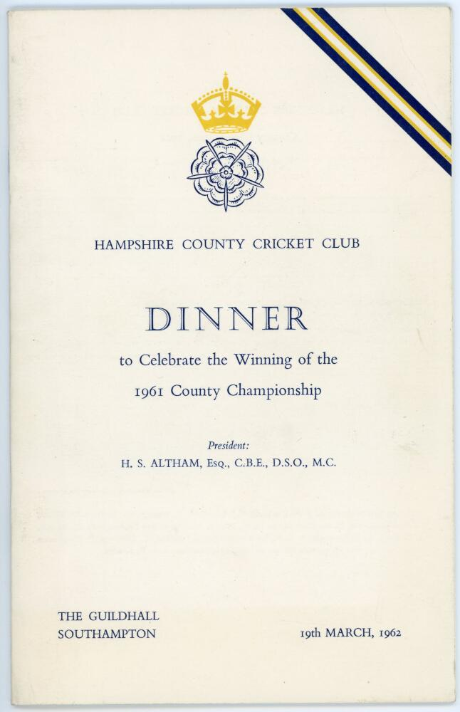 Lot 10 - Hampshire C.C.C. County Champions 1961. Official menu for the dinner held at The Guildhall,