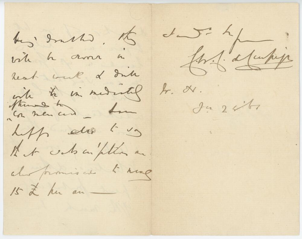Lot 48 - Sir Claude Champion de Crespigny, 3rd Baronet De Crespigny (1818-1868). Incomplete three page