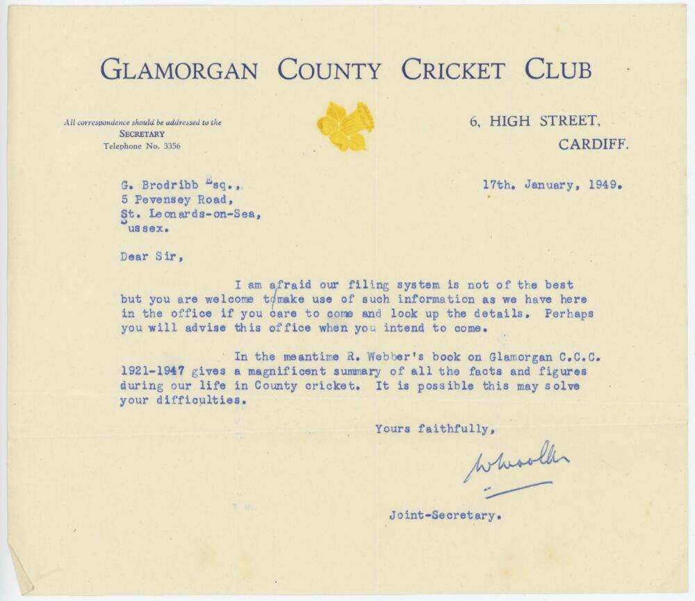 Lot 46 - Wilfred Wooller. Cambridge University & Glamorgan, 1935-1962. Typed letter on official Glamorgan C.