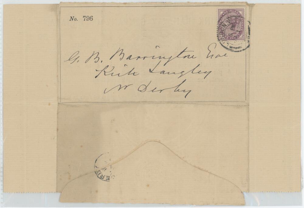 Lot 19 - George Bainbridge Barrington. Derbyshire 1880-1887. Original stock dividend Warrant for Interest no.