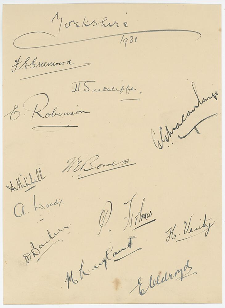 Lot 224 - Yorkshire C.C.C. 1931. Page nicely signed in ink by twelve members of the Yorkshire team. Signatures