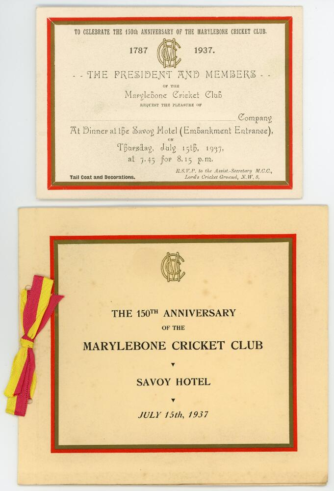 Lot 11 - 'The 150th Anniversary of the Marylebone Cricket Club 1787-1937'. Official invitation and menu for