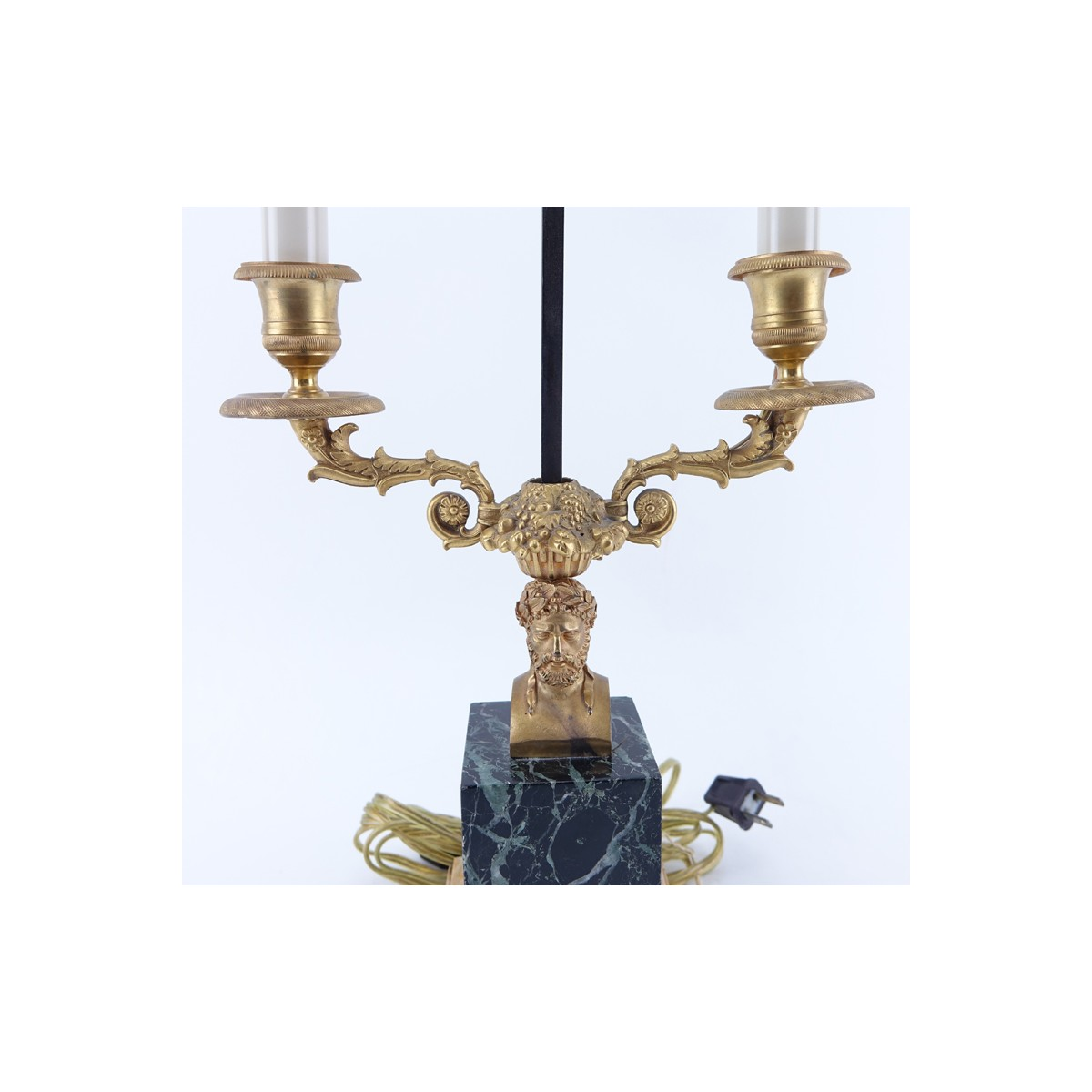 Lot 309 - Bronze Figural Bouillotte Lamp With Later Tole Sha