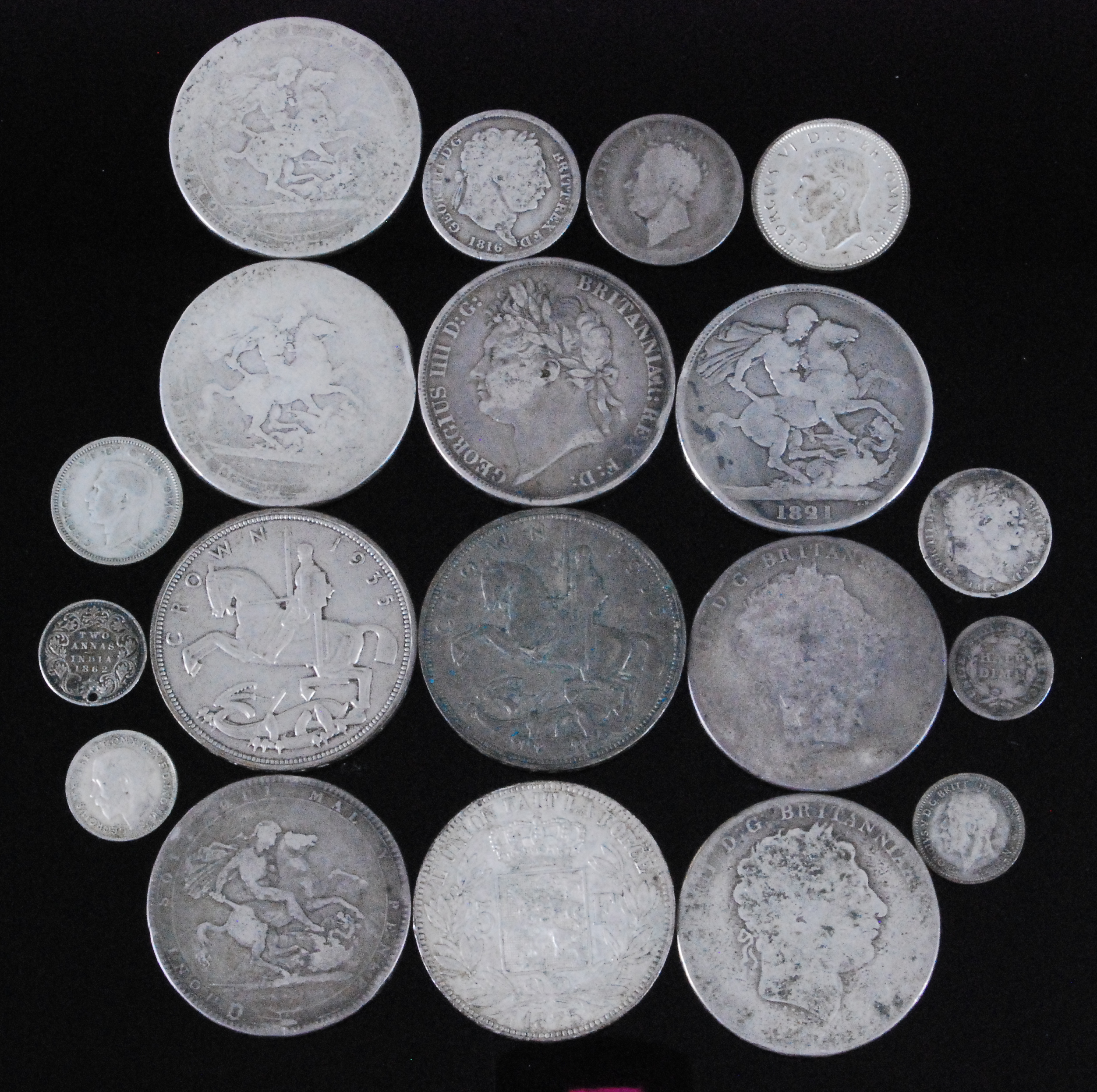 Lot 2083 - Great Britain and World, a collection of George III and later silver coins to include George III