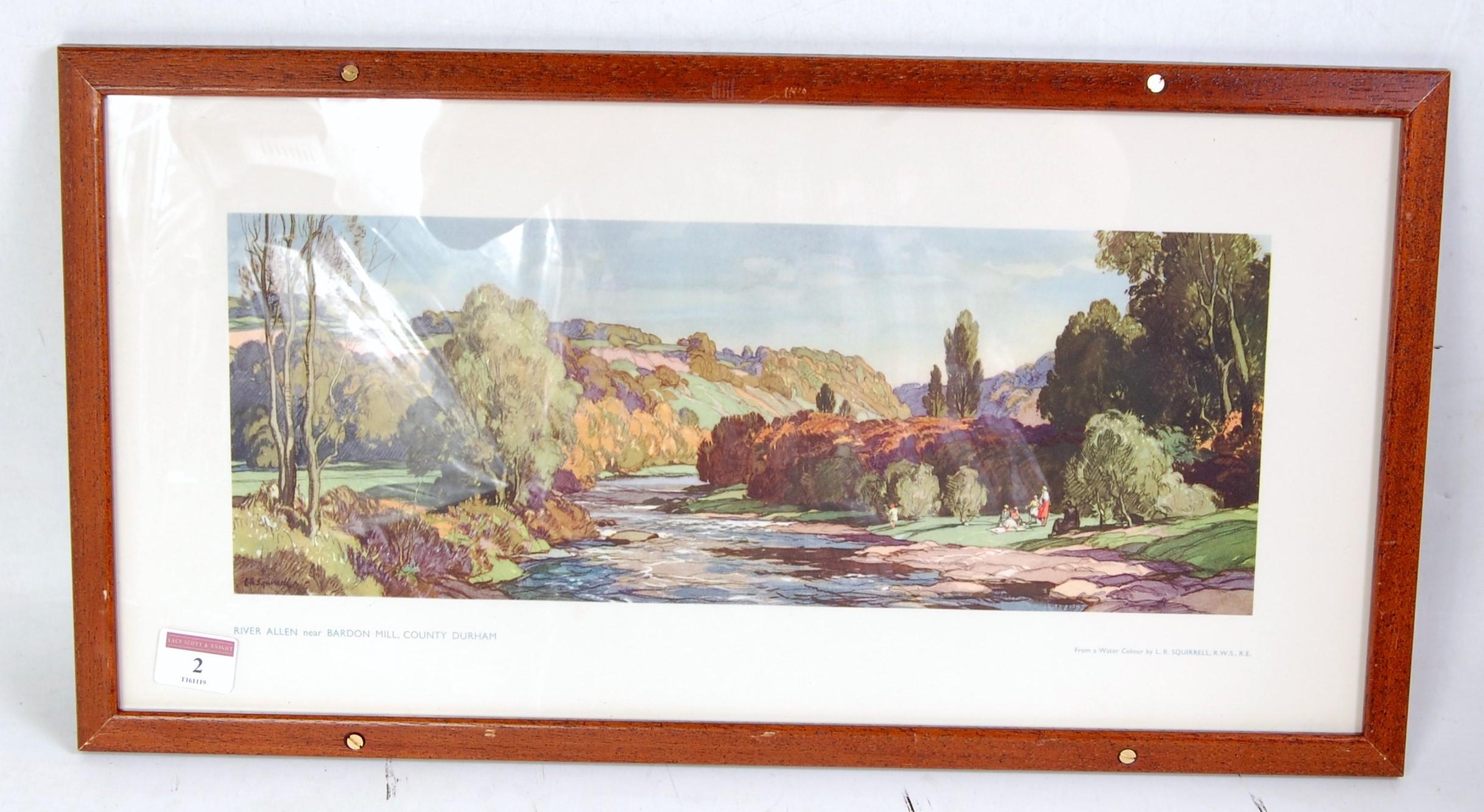 "Lot 2 - An original railway carriage print ""RIVER ALLEN, NR BARDON MILL, NORTHUMBERLAND"" by Suffolk artist"