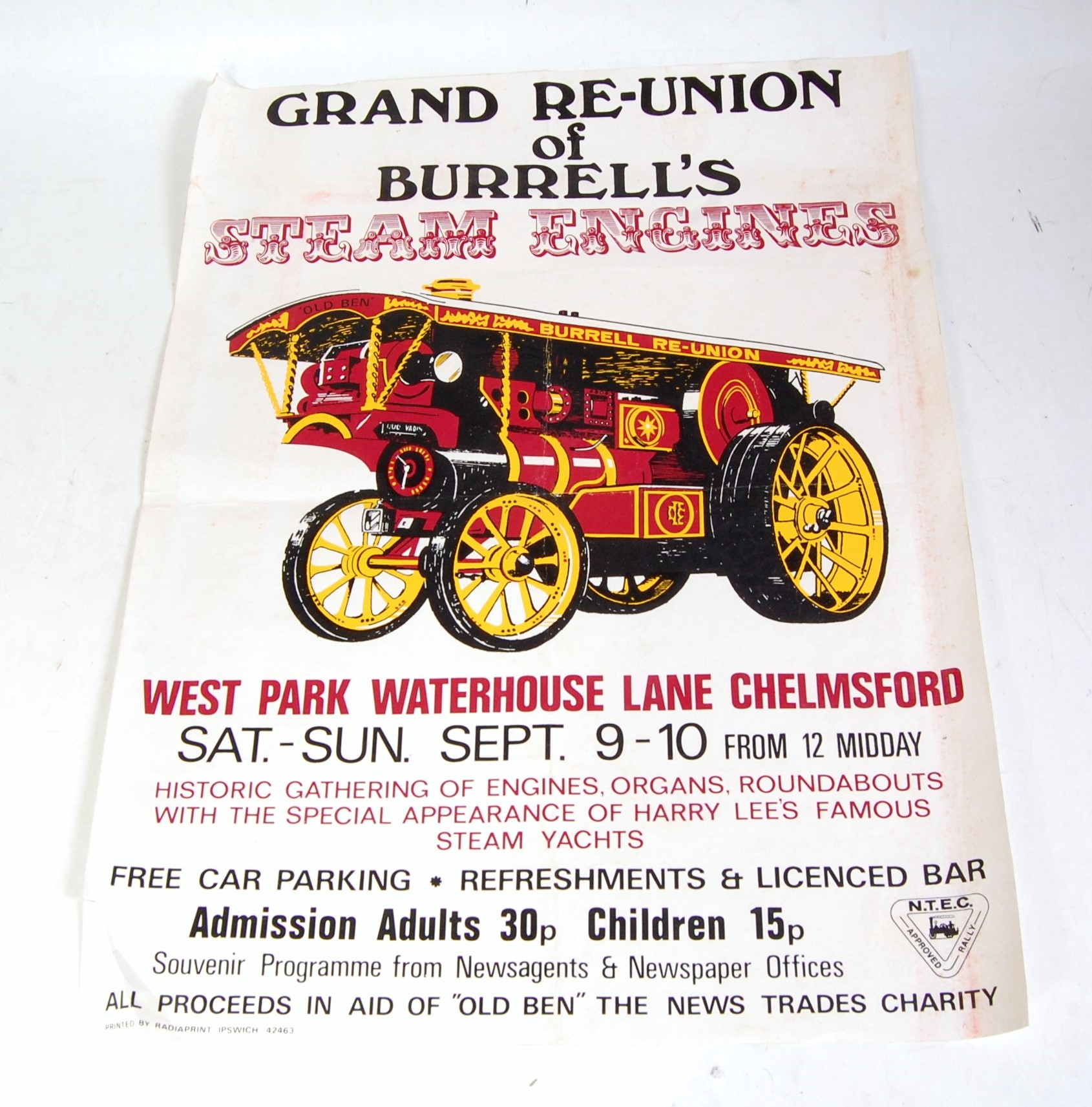 Lot 16 - An original late 20th century Grand Reunion of Burrells Steam Engines advertising poster taking