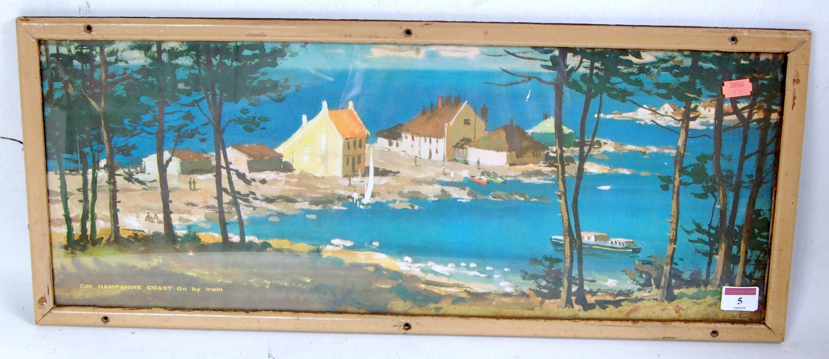 Lot 5 - An original framed Langhammer carriage print, depicting the Hampshire coast (Go By Train) sold