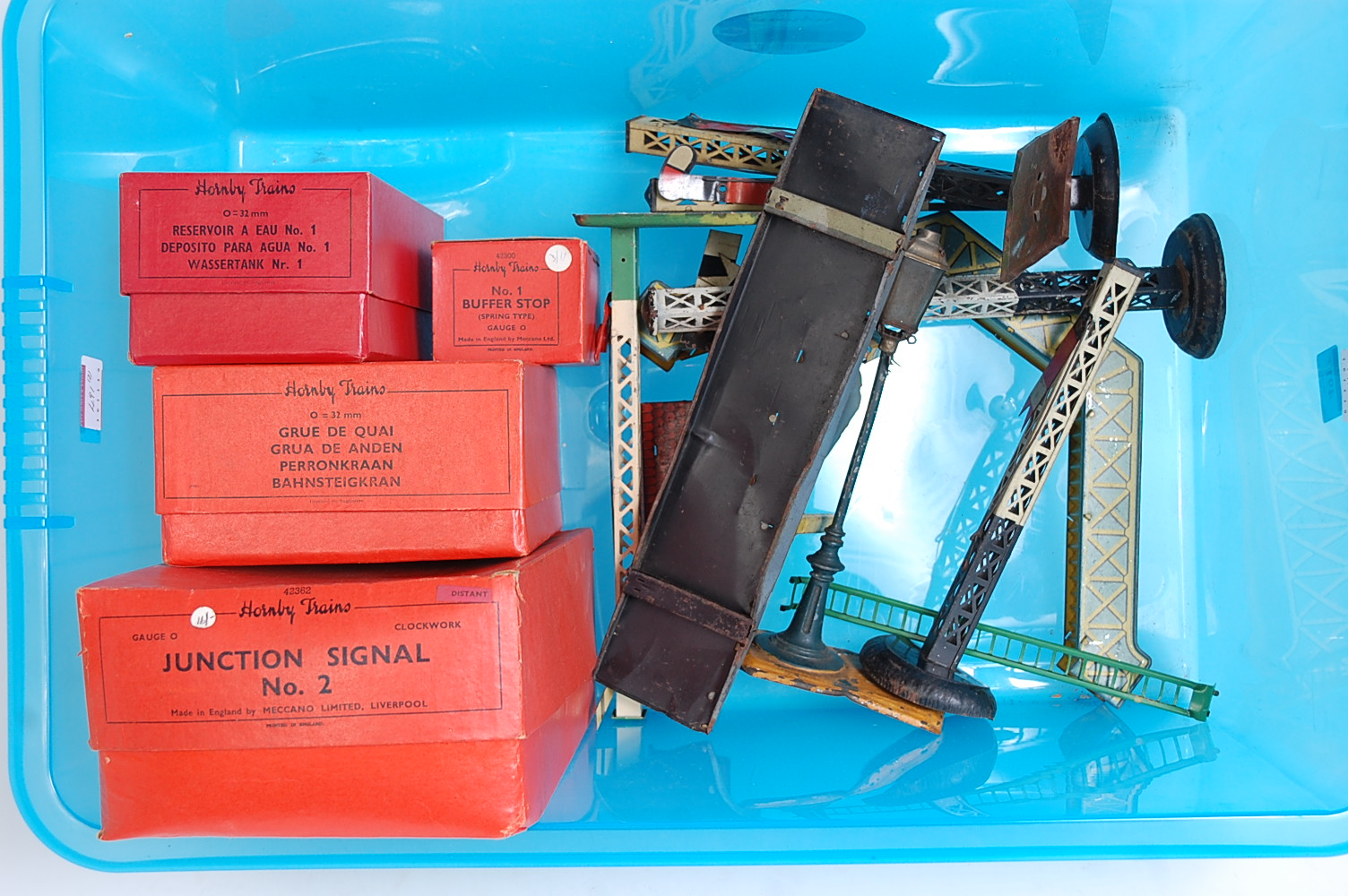 Lot 491 - Two large plastic crates containing Hornby 0 clockwork track (G) No. 1 buffer (E-BE), No. 1 water