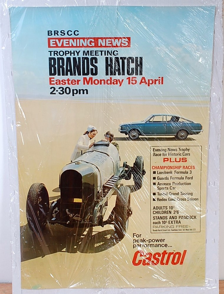 Lot 45 - A double royal sized Brandshatch Easter Monday, 15th April Evening News trophy meeting poster,