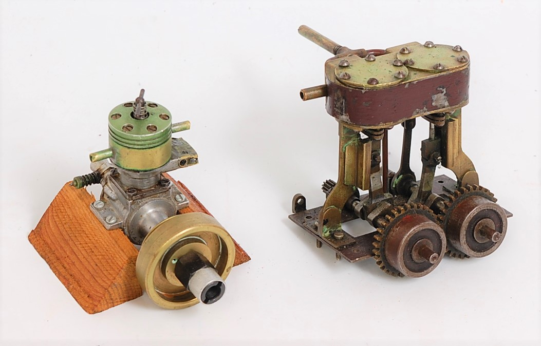 Lot 51 - A pair of scratch built stationary steam and aircraft engines to include a twin cylinder