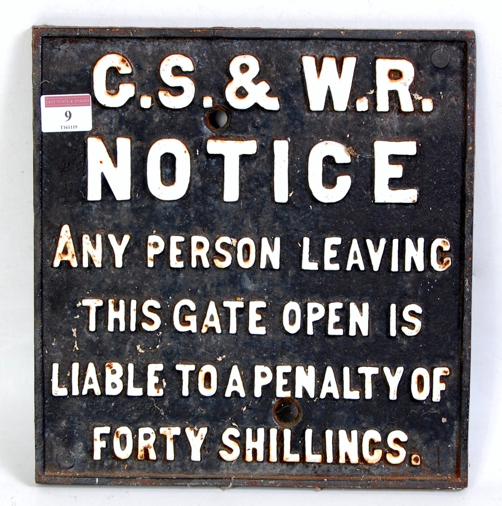 Lot 9 - A Great Southern and Western Railway of Ireland cast iron gate notice sign, white on black