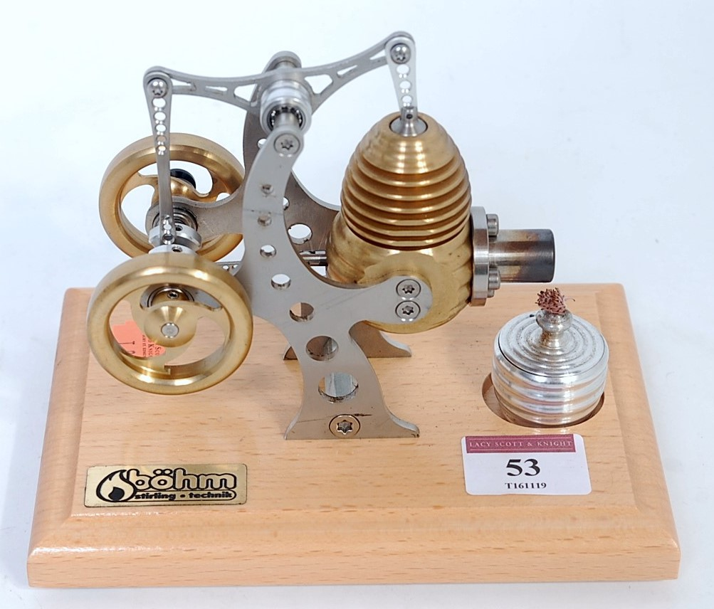 Lot 53 - A Bohm, HP11 hot air Stirling little pump engine, nicely finished kit comprising of stainless