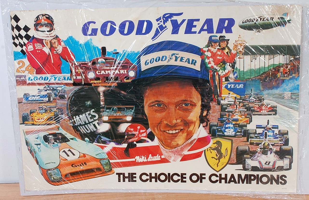 """Lot 46 - A double royal size Goodyear """"The Choice of Champions"""" 1976 poster depicting Niki Lauda surrounded"""