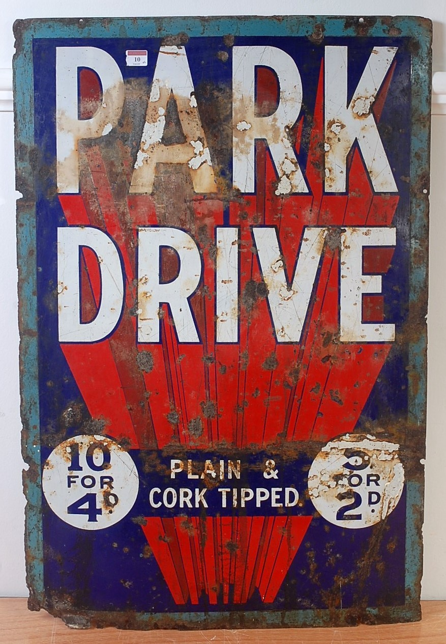 Lot 10 - An original early 20th century Park Drive enamel plain and cork tipped rectangular advertising sign,