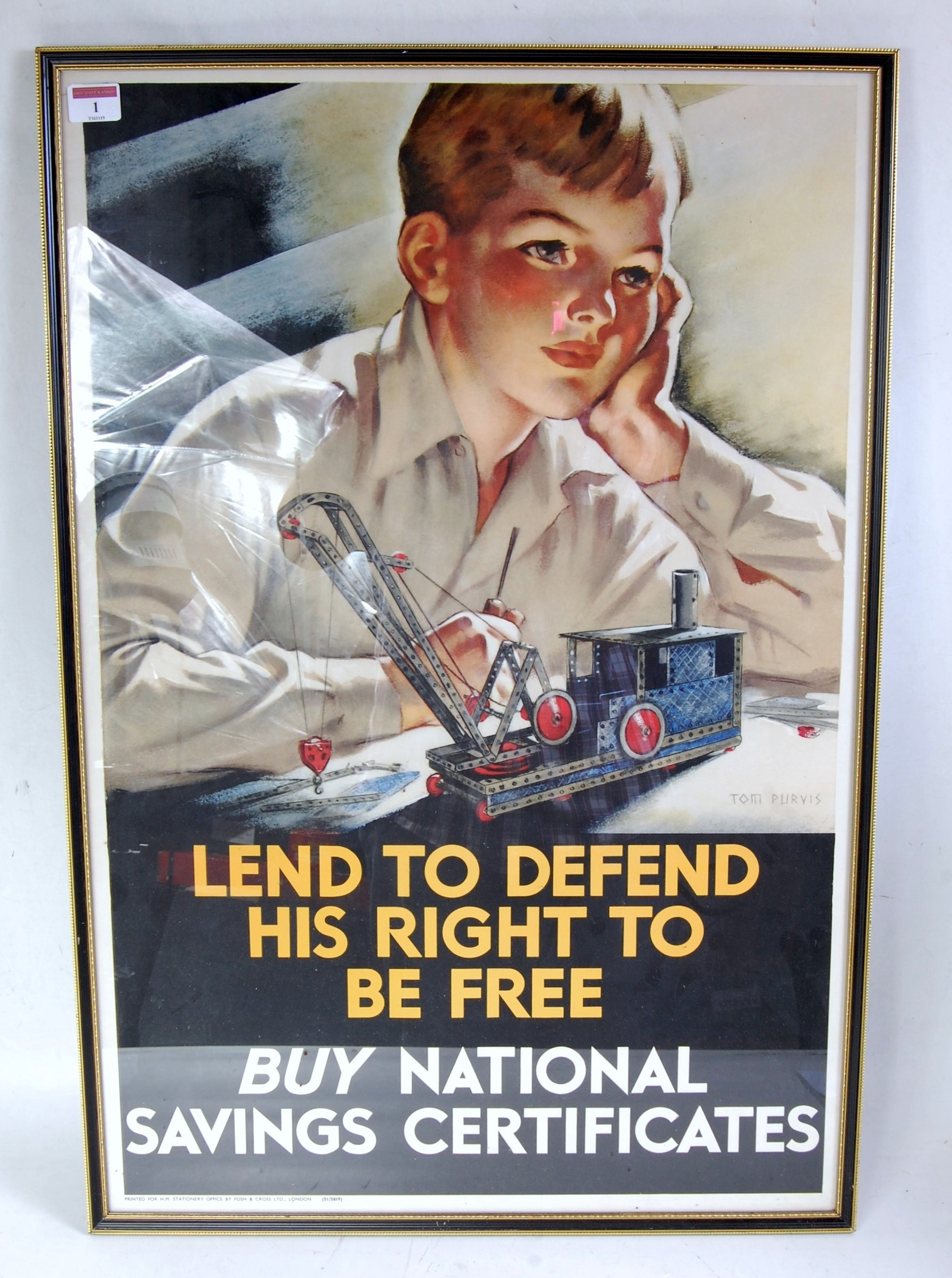 Lot 1 - An original war time National Savings poster to read 'Lend to Defend his right to be free, Buy