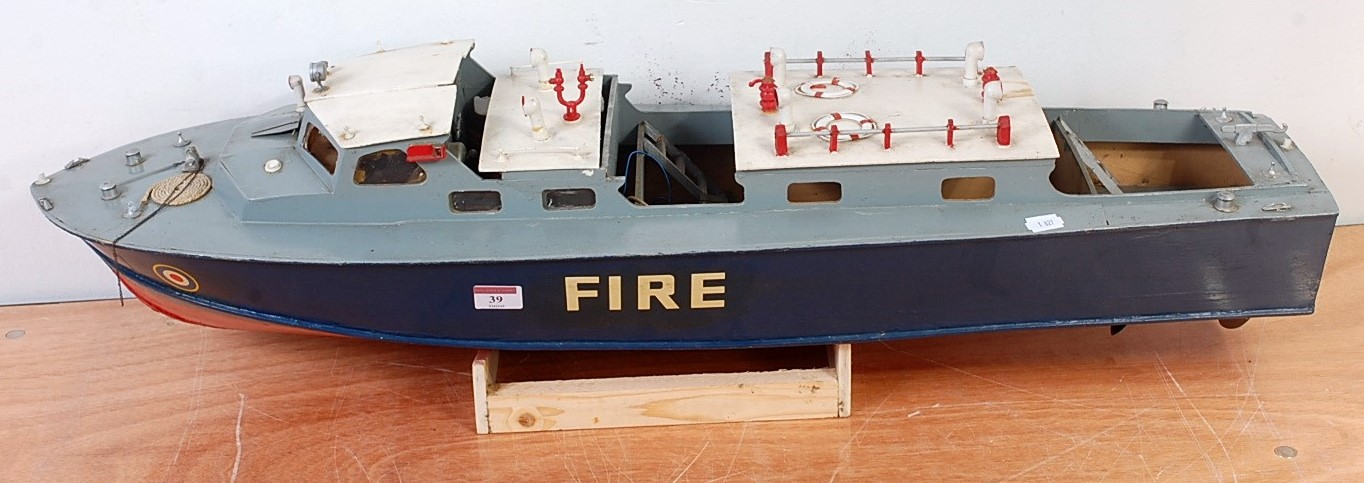 Lot 39 - A kit built wooden and balsa wood model of a radio controlled 1960s Air Sea Rescue Launch (fire