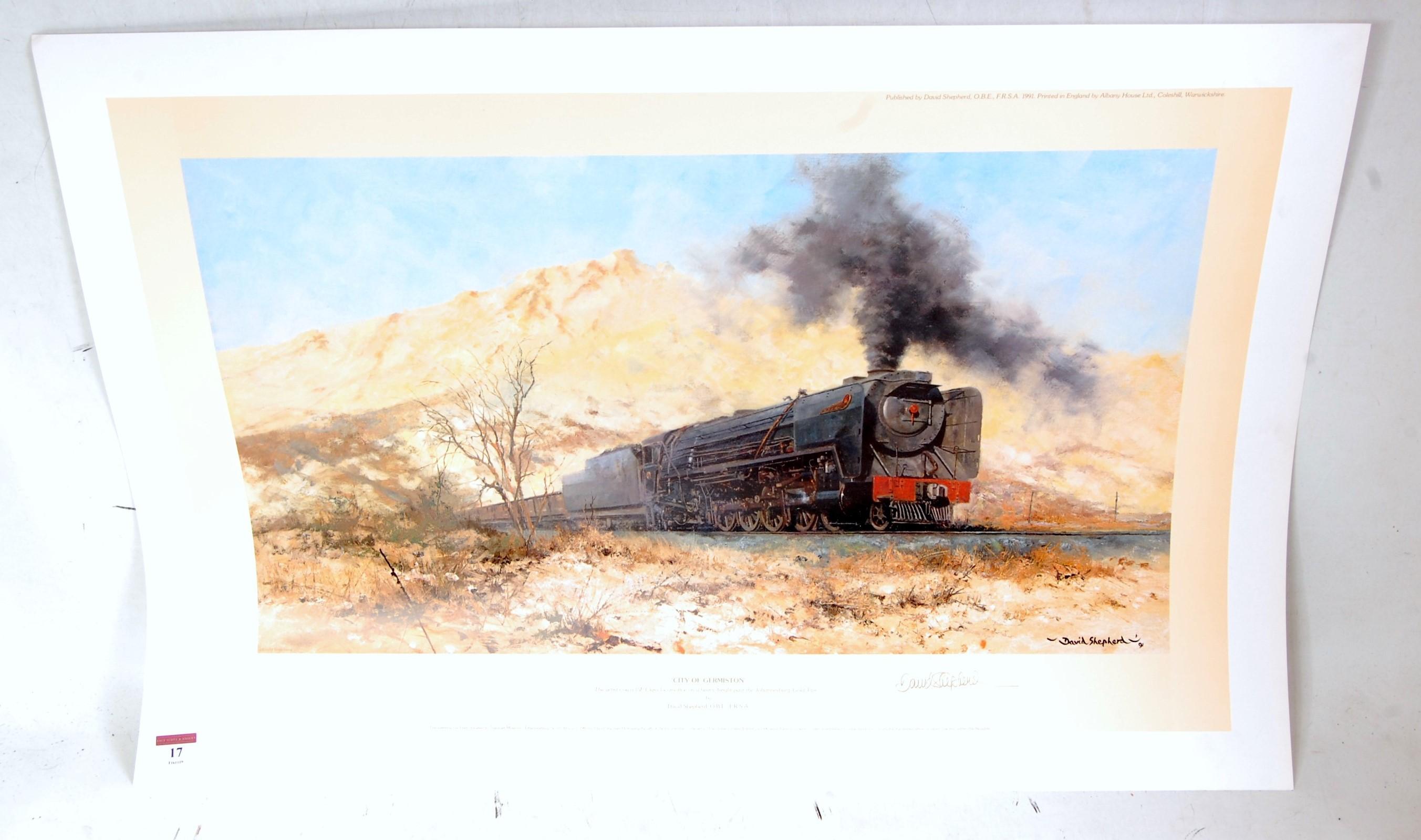 Lot 17 - An original hand signed David Shepherd railway print titled 'City of Germiston', limited edition