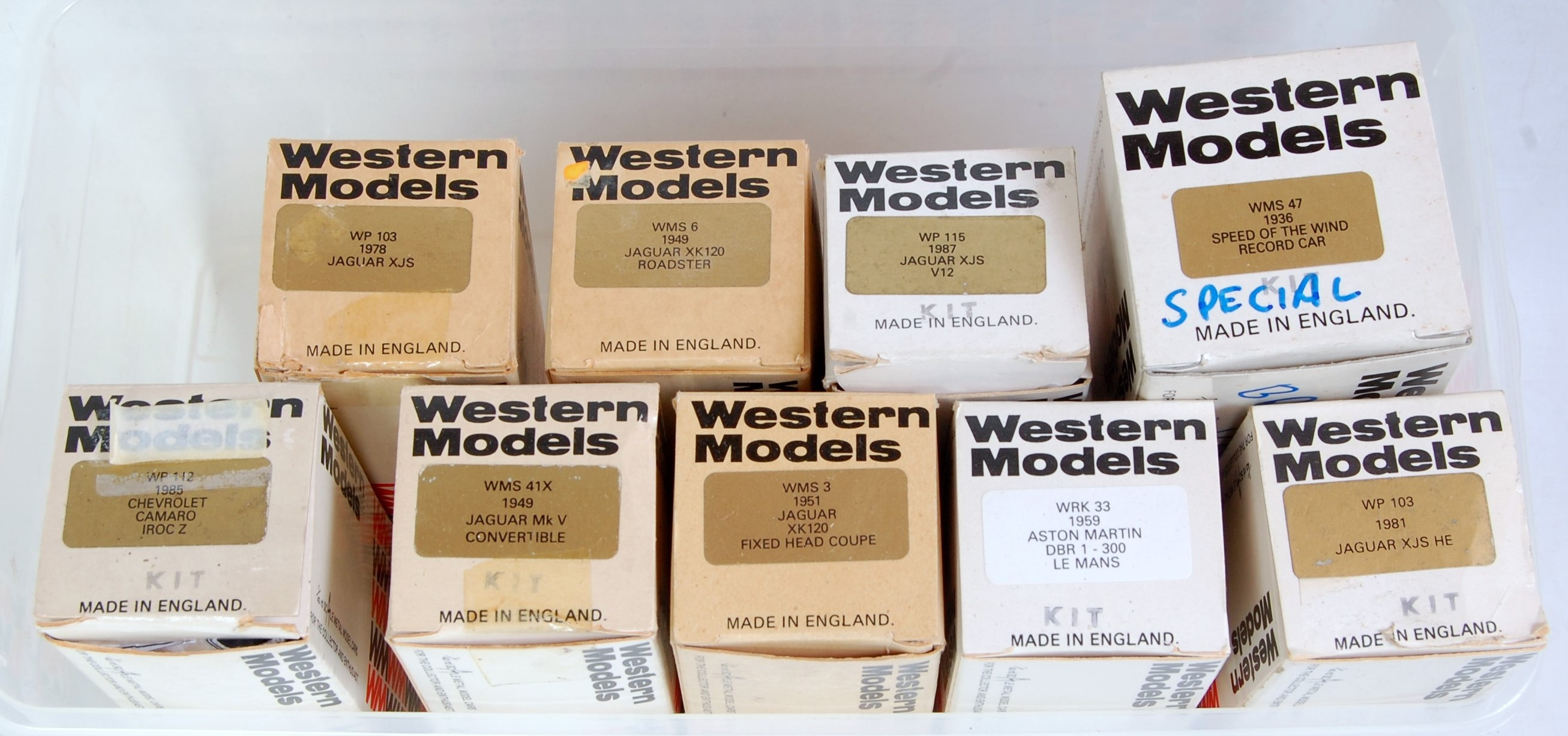 Lot 1549 - Nine various boxed Western Models 1/43 scale white metal classic car kits, mixed examples to include