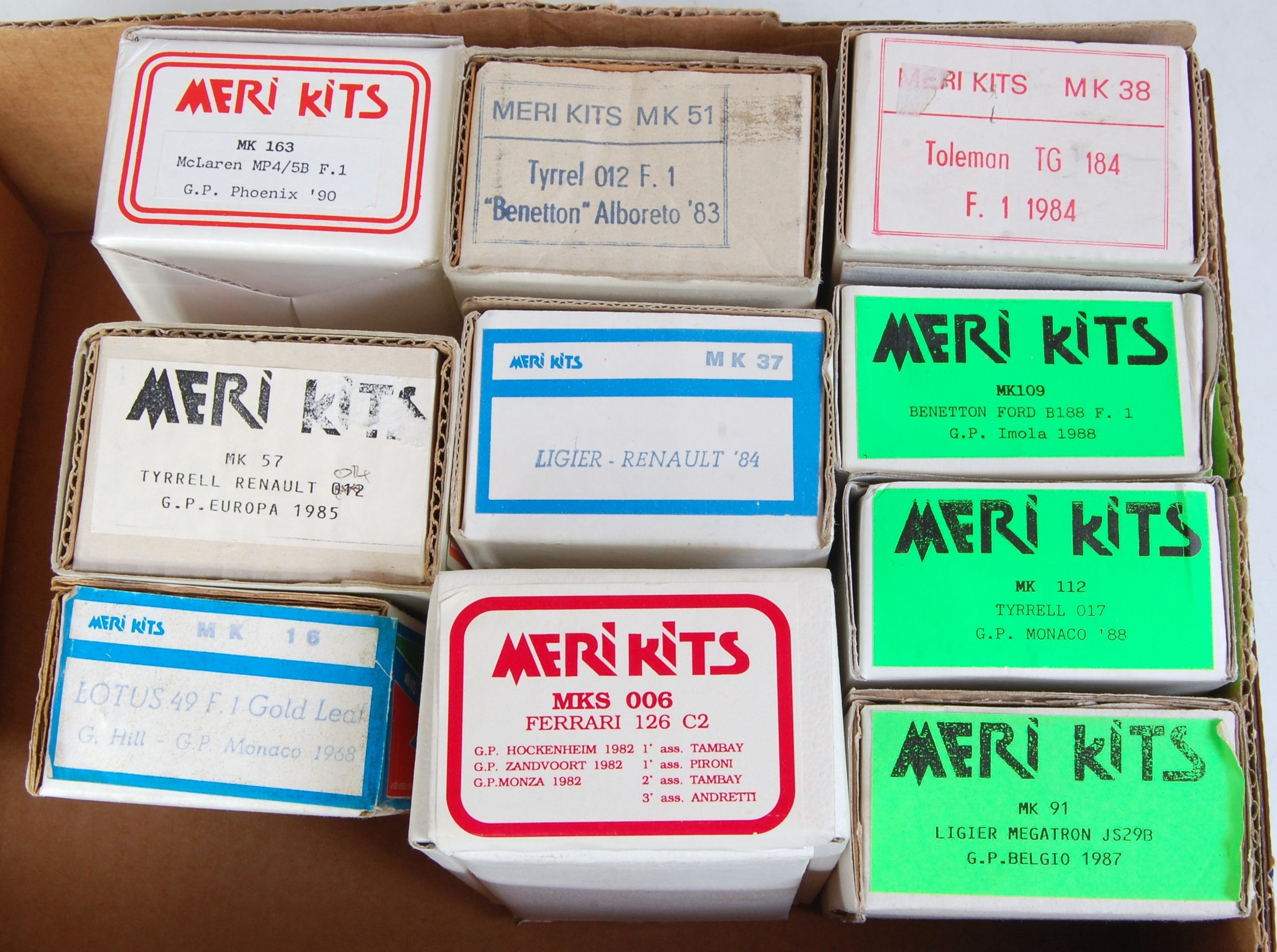 Lot 1524 - Ten various boxed 1/43 scale white metal Meri classic car and racing car kits, to include a