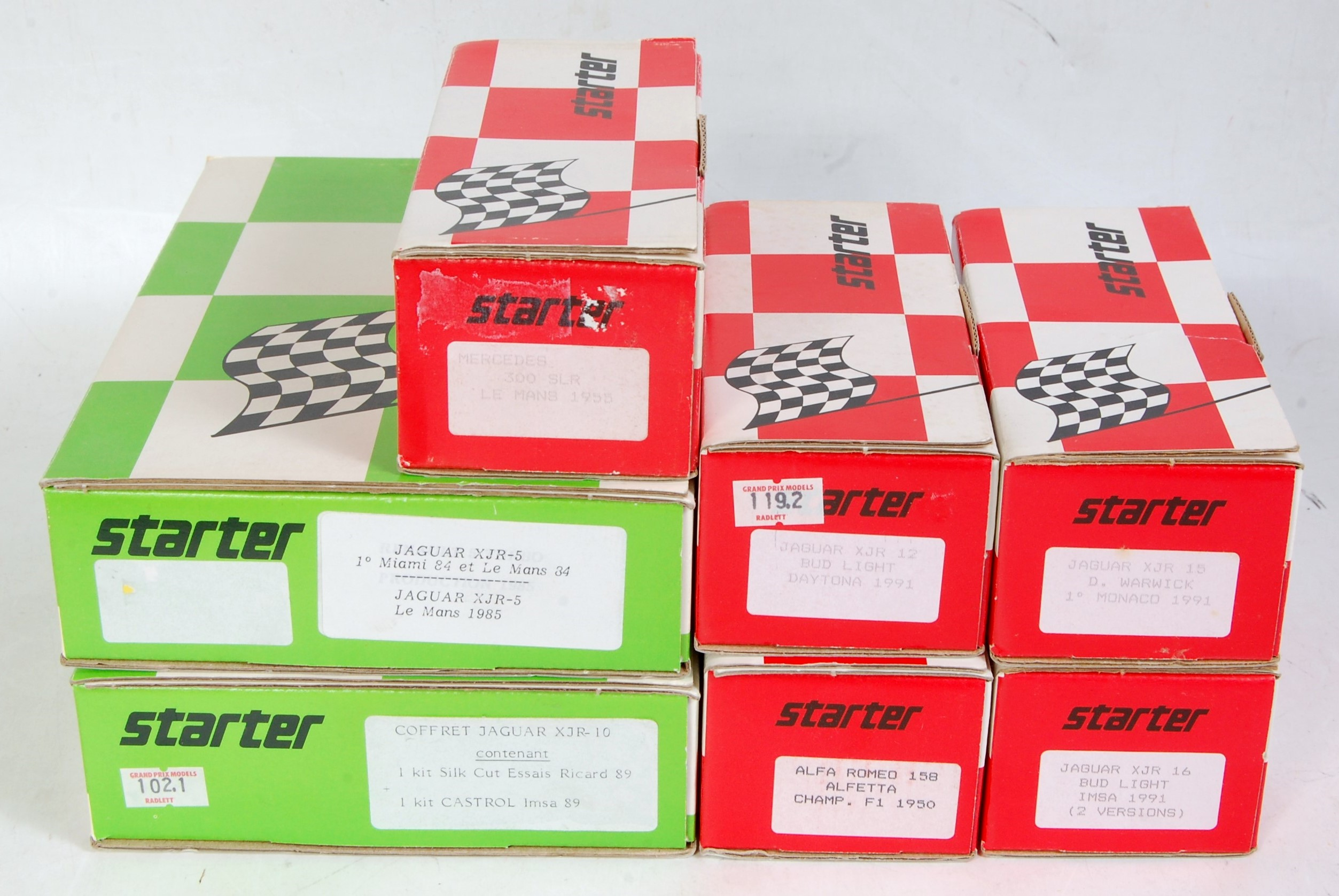 Lot 1588 - Seven various boxed Starter 1/43 scale resin classic car kits to include a Jaguar XJR5, a Jaguar