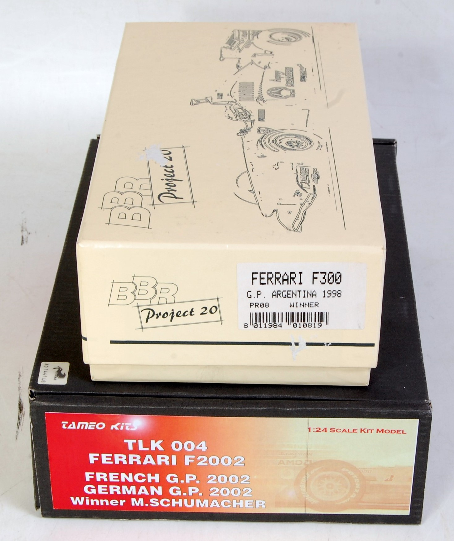 Lot 1515 - A BBR Project 20 and Tameo Kits 1/24 scale F1 resin car kit group to include a BBR Ferrari F300