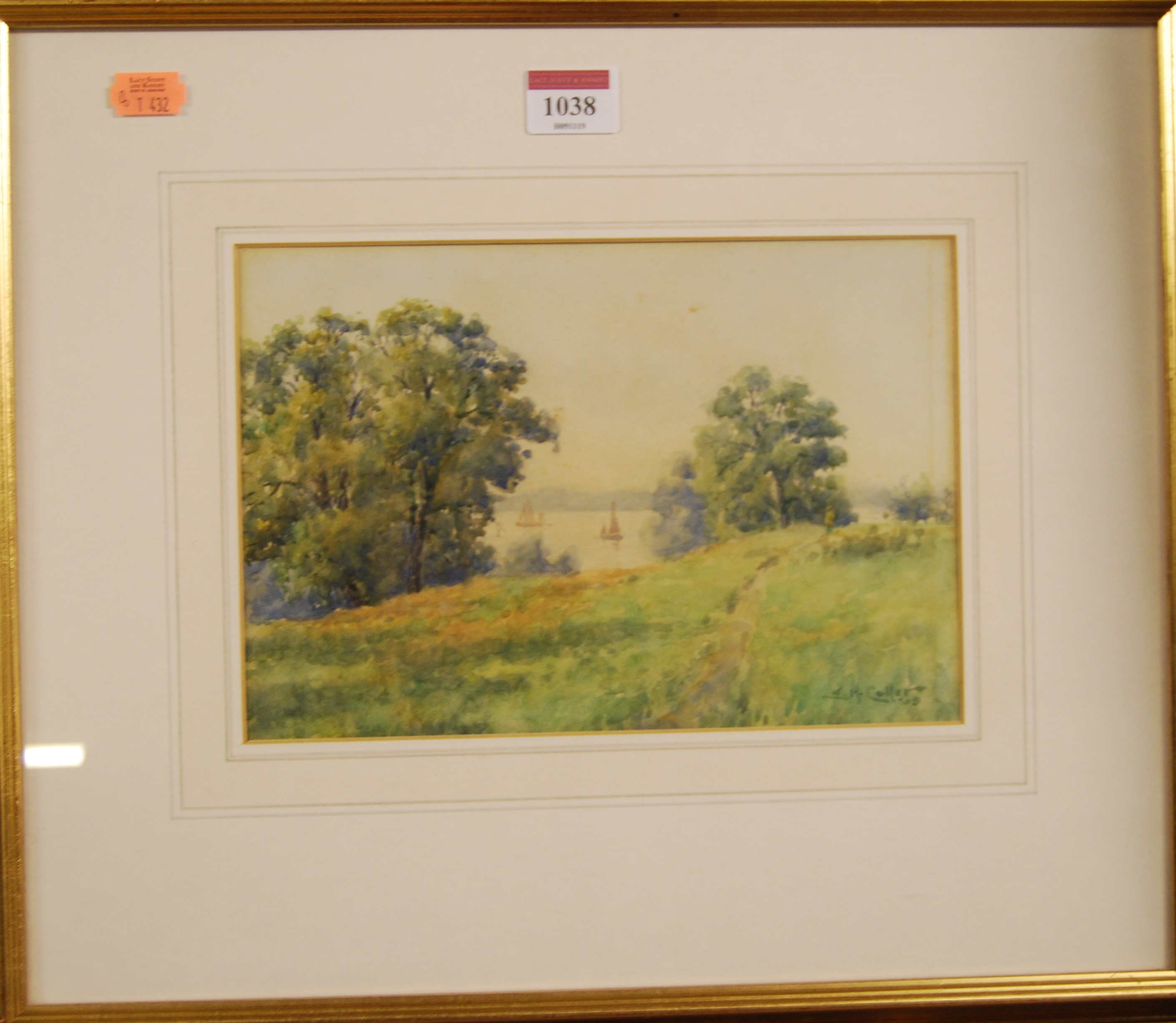 Lot 1038 - E.H. Collier - Boats on the estuary, watercolour, signed lower right, 16.5 x 24cm