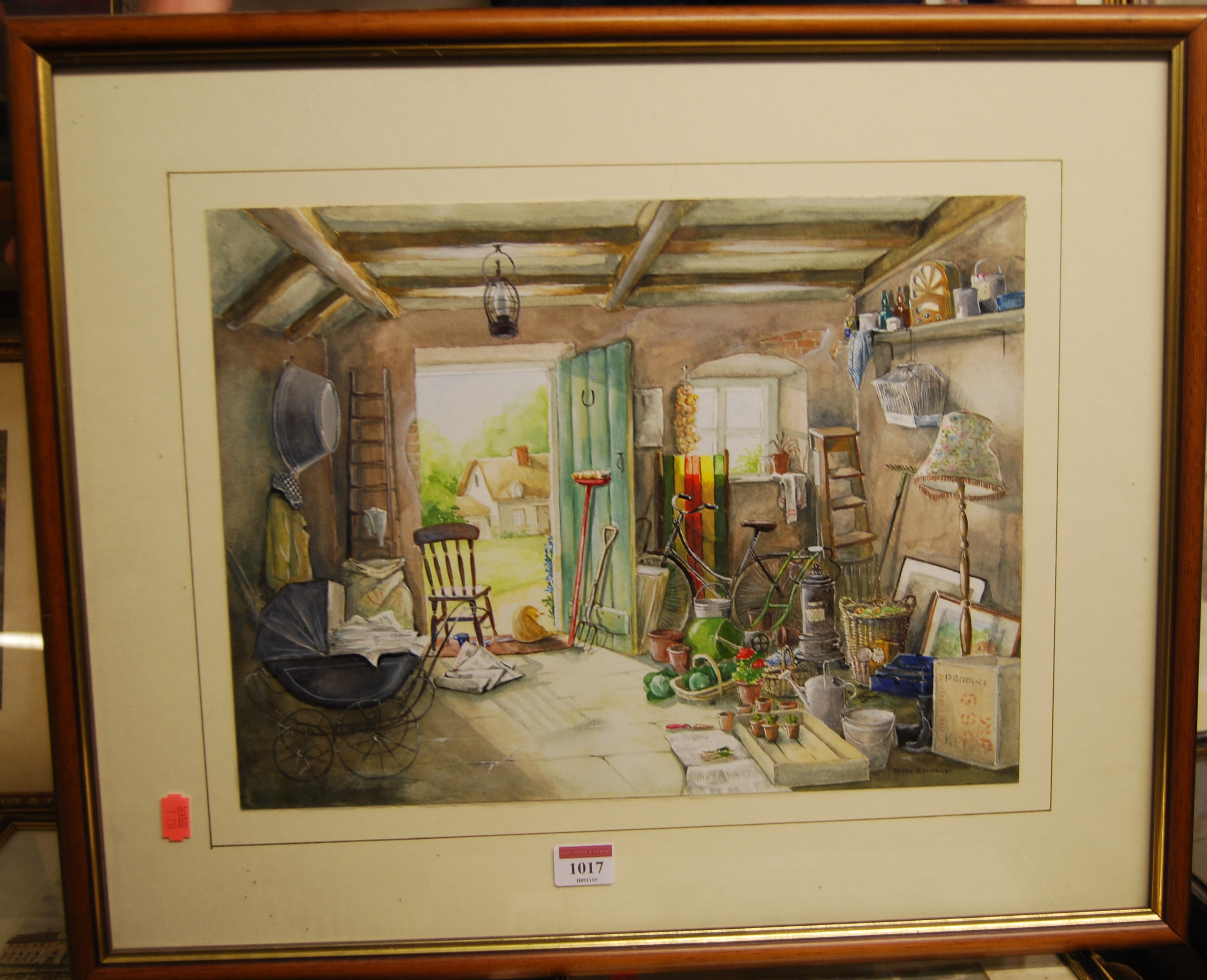 Lot 1017 - Joyce Grimaldi - The outhouse, watercolour with body colour, signed lower right, 30 x 40cm; Archie