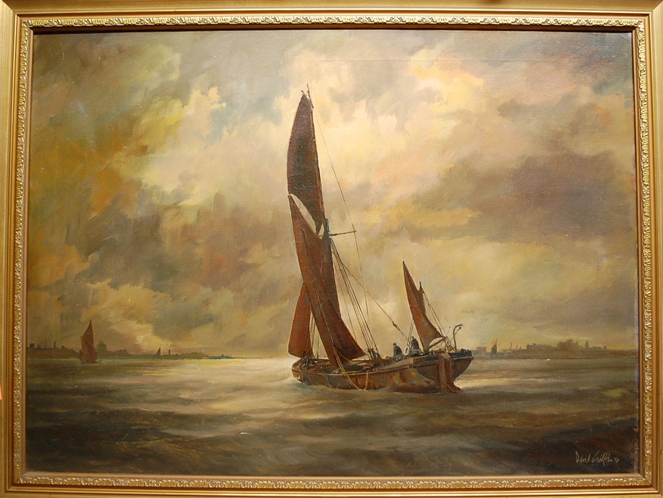 Lot 1002 - David Griffin - Sailing barge under way, oil on canvas, signed and dated '76 lower right, with