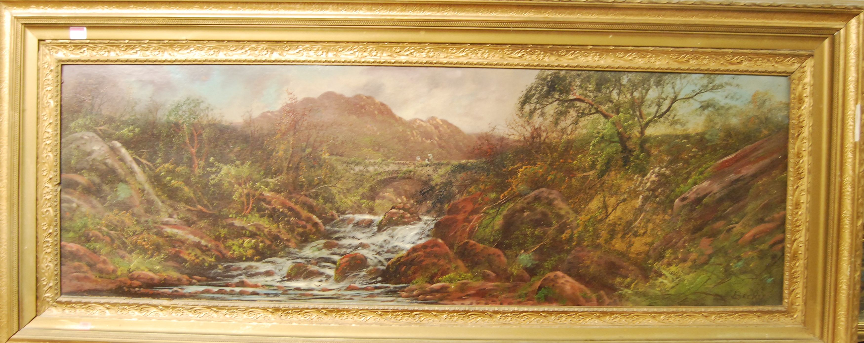 Lot 1014 - Beckett - Extensive landscape scene with figures on a stone bridge by a waterfall, oil on board,